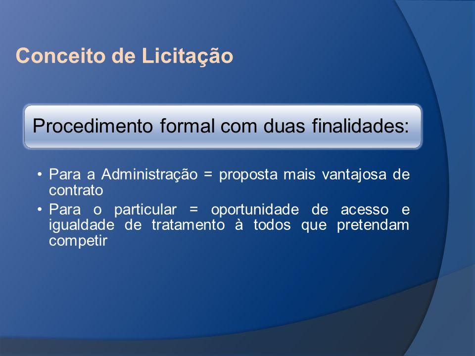 Conceito de Licitação Procedimento formal com duas finalidades: