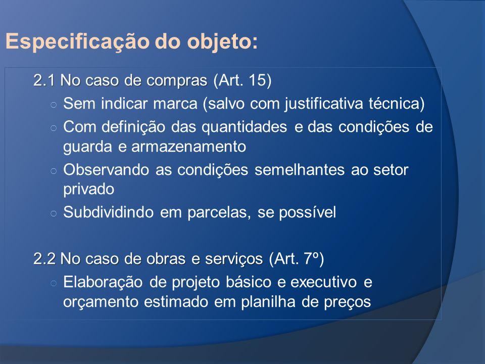 Especificação do objeto: