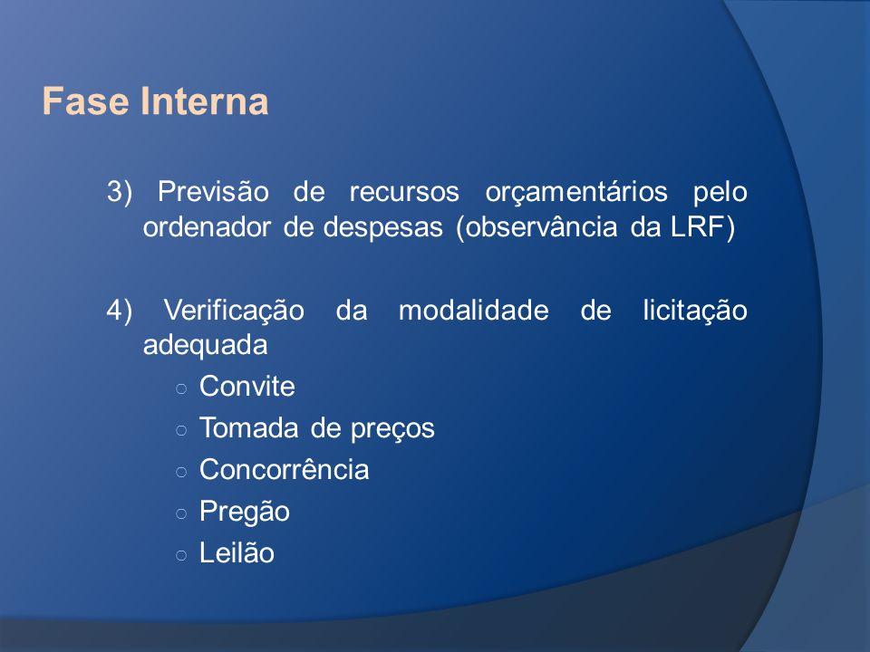 Fase Interna 3) Previsão de recursos orçamentários pelo ordenador de despesas (observância da LRF)