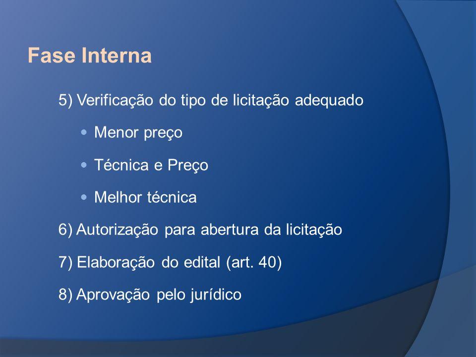 Fase Interna 5) Verificação do tipo de licitação adequado Menor preço