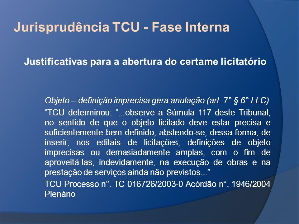 Jurisprudência TCU - Fase Interna