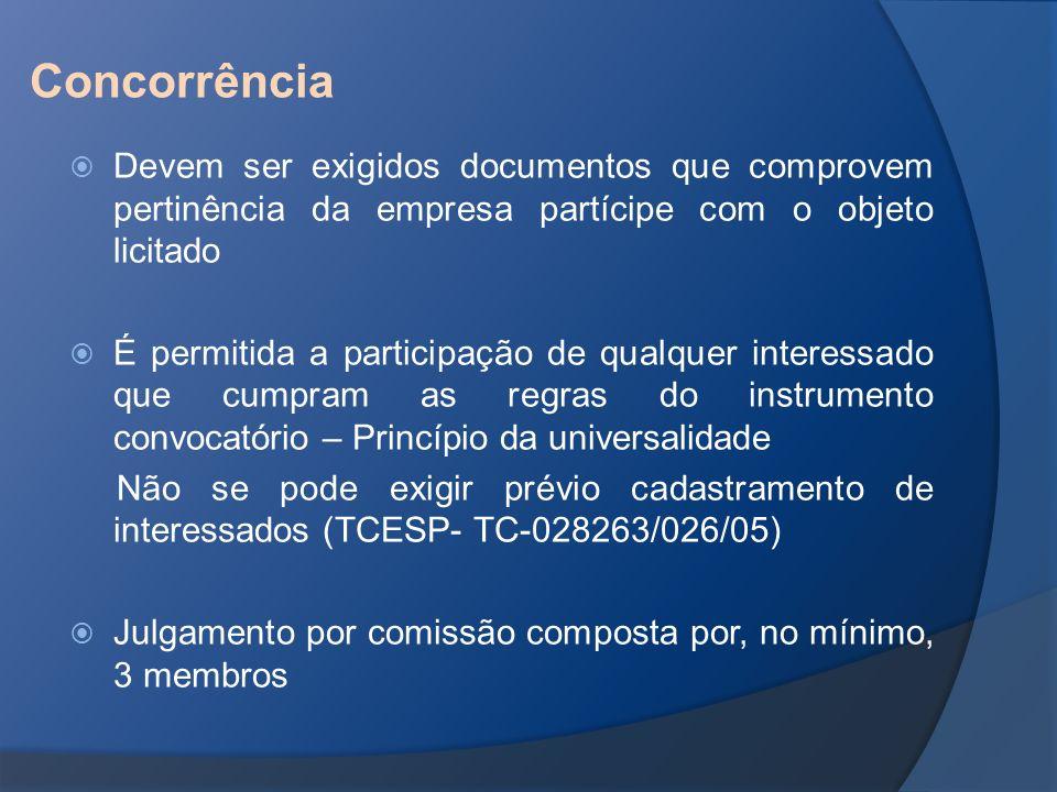 Concorrência Devem ser exigidos documentos que comprovem pertinência da empresa partícipe com o objeto licitado.