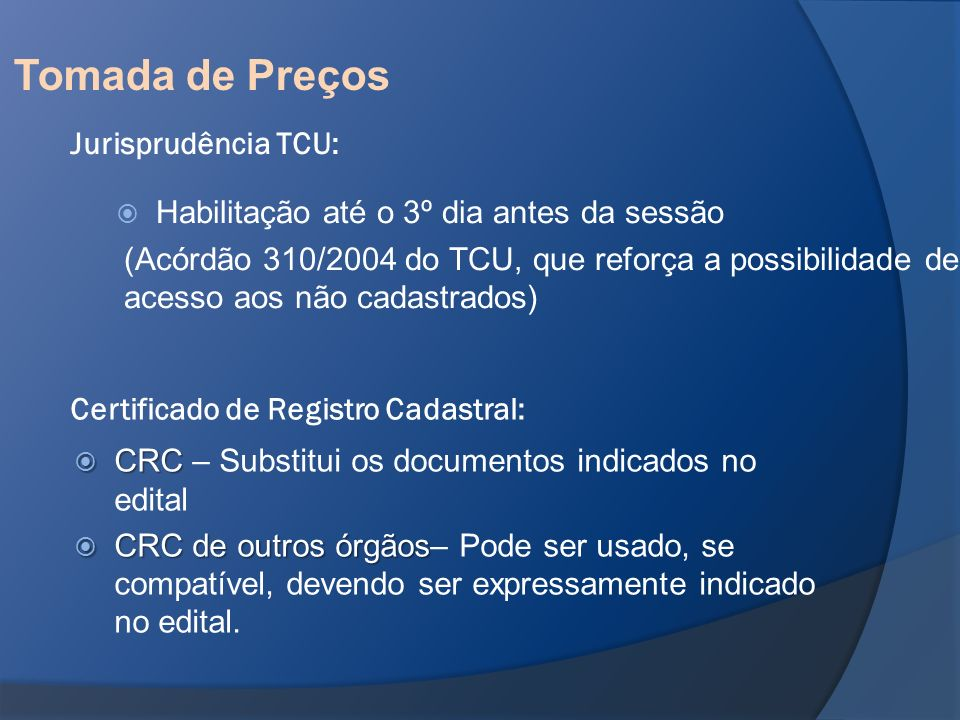 Tomada de Preços Jurisprudência TCU: