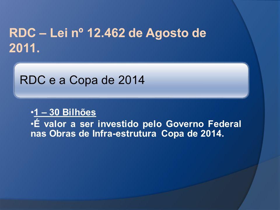 RDC – Lei nº 12.462 de Agosto de 2011. RDC e a Copa de 2014