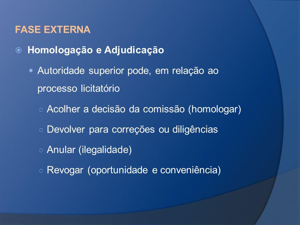 FASE EXTERNA Homologação e Adjudicação. Autoridade superior pode, em relação ao processo licitatório.