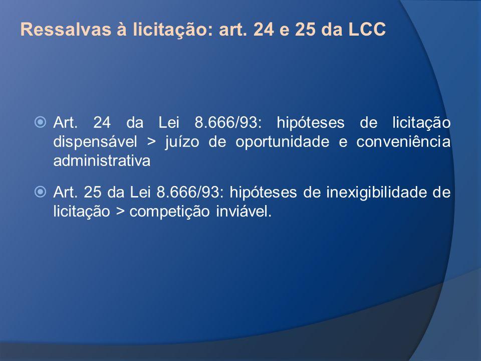 Ressalvas à licitação: art. 24 e 25 da LCC