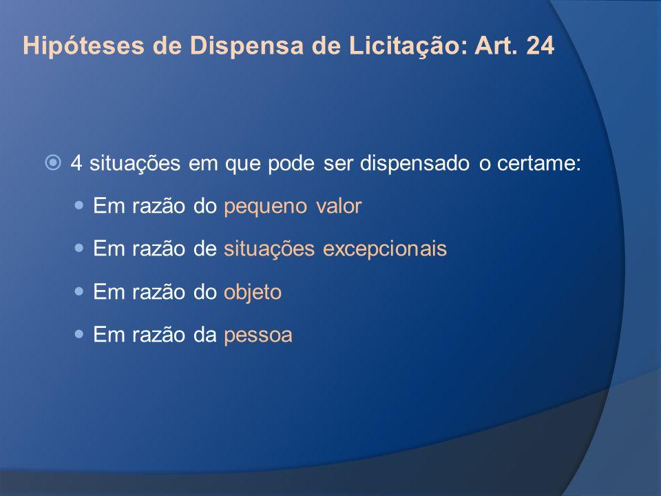 Hipóteses de Dispensa de Licitação: Art. 24