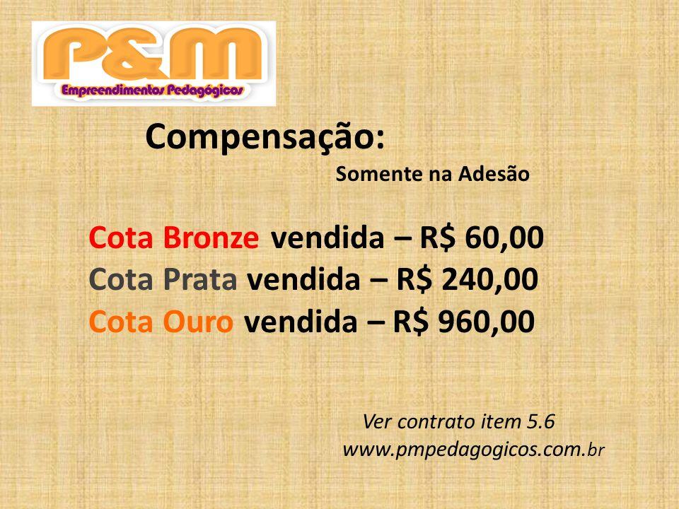 Cota Bronze vendida – R$ 60,00 Cota Prata vendida – R$ 240,00