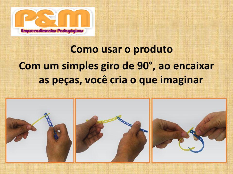 Como usar o produto Com um simples giro de 90°, ao encaixar as peças, você cria o que imaginar