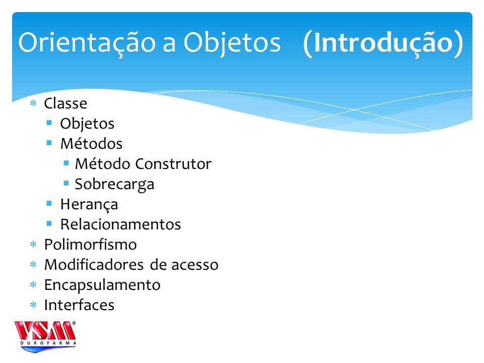 Orientação a Objetos (Introdução) Classe Objetos Métodos