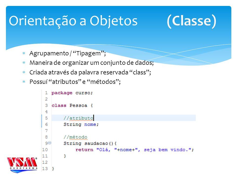 (Classe) Orientação a Objetos Agrupamento / Tipagem ;