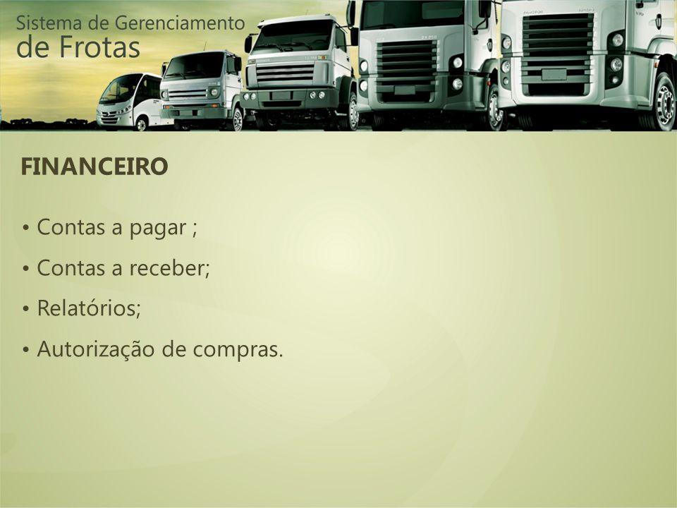 FINANCEIRO • Contas a pagar ; • Contas a receber; • Relatórios;