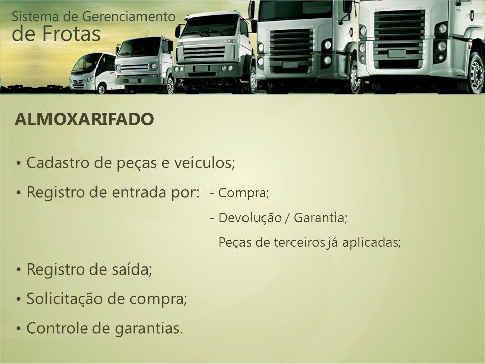 ALMOXARIFADO • Cadastro de peças e veículos;