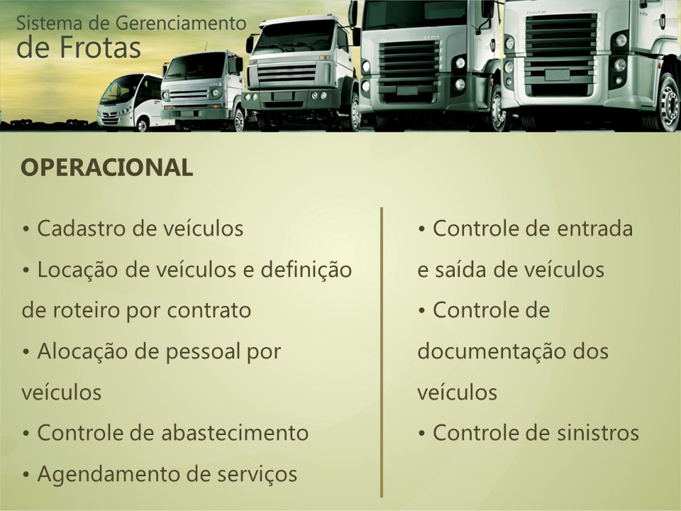 OPERACIONAL • Cadastro de veículos