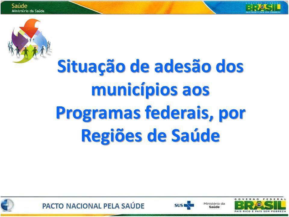 Situação de adesão dos municípios aos Programas federais, por Regiões de Saúde