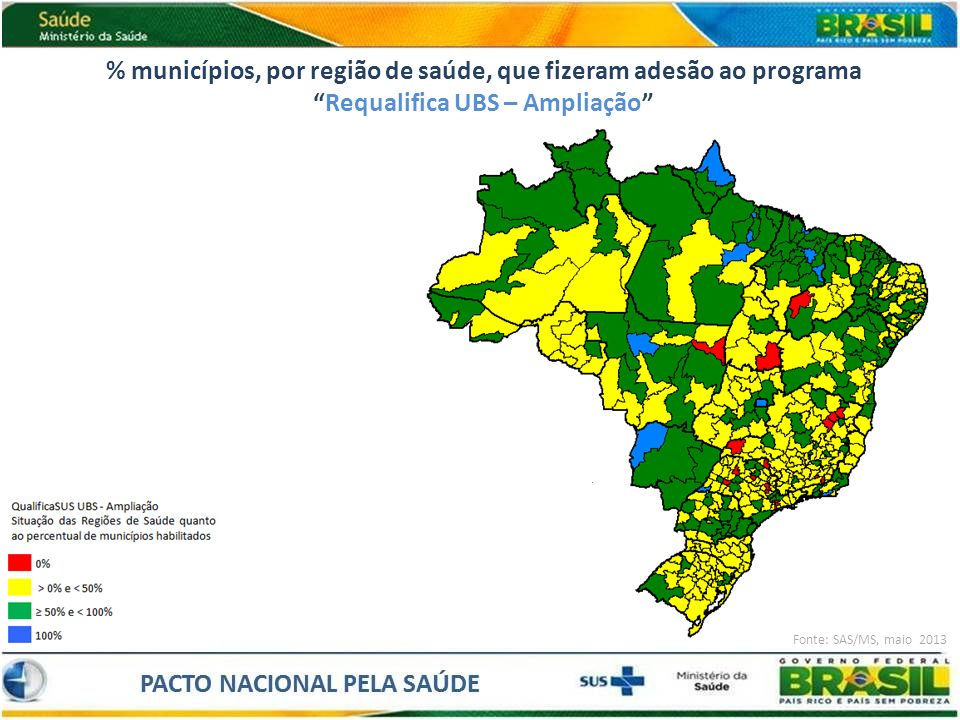% municípios, por região de saúde, que fizeram adesão ao programa Requalifica UBS – Ampliação