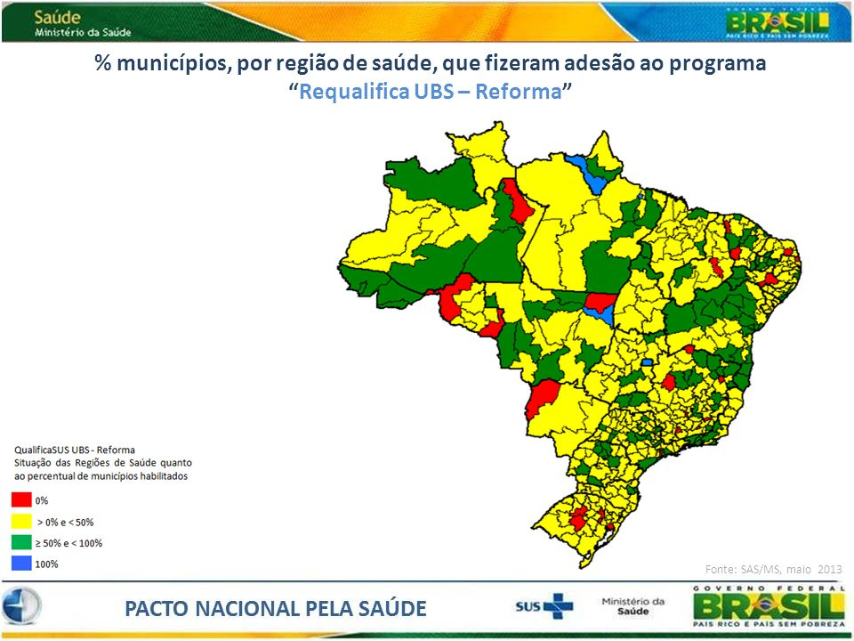 % municípios, por região de saúde, que fizeram adesão ao programa Requalifica UBS – Reforma