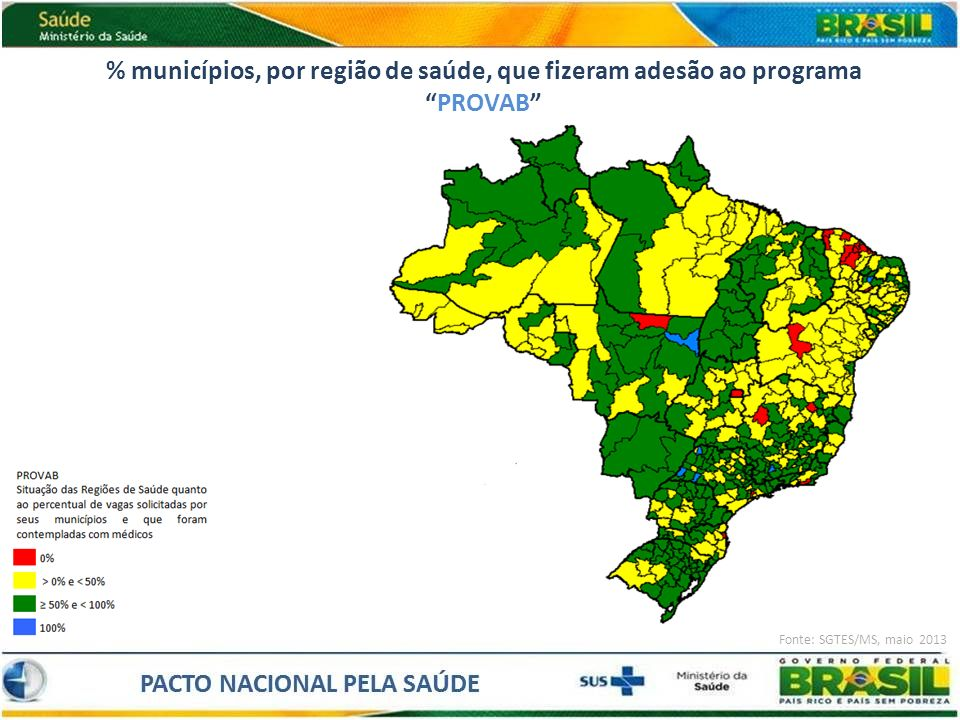 % municípios, por região de saúde, que fizeram adesão ao programa PROVAB