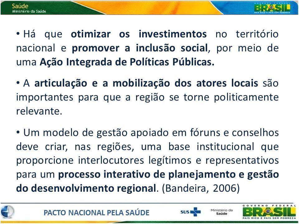 Há que otimizar os investimentos no território nacional e promover a inclusão social, por meio de uma Ação Integrada de Políticas Públicas.