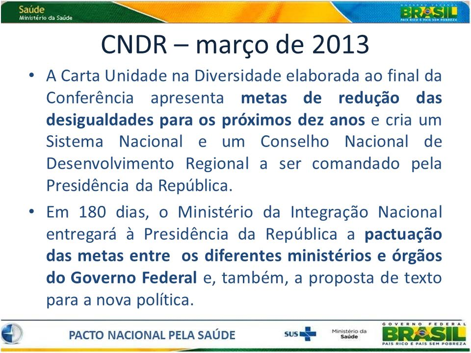 CNDR – março de 2013