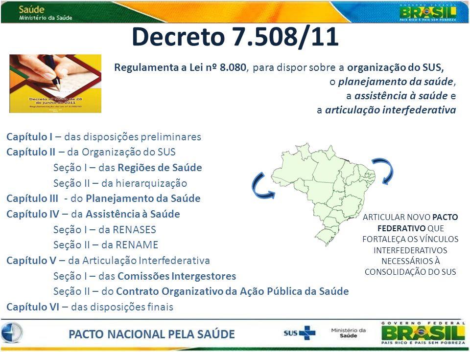 Decreto 7.508/11 Regulamenta a Lei nº 8.080, para dispor sobre a organização do SUS, o planejamento da saúde,