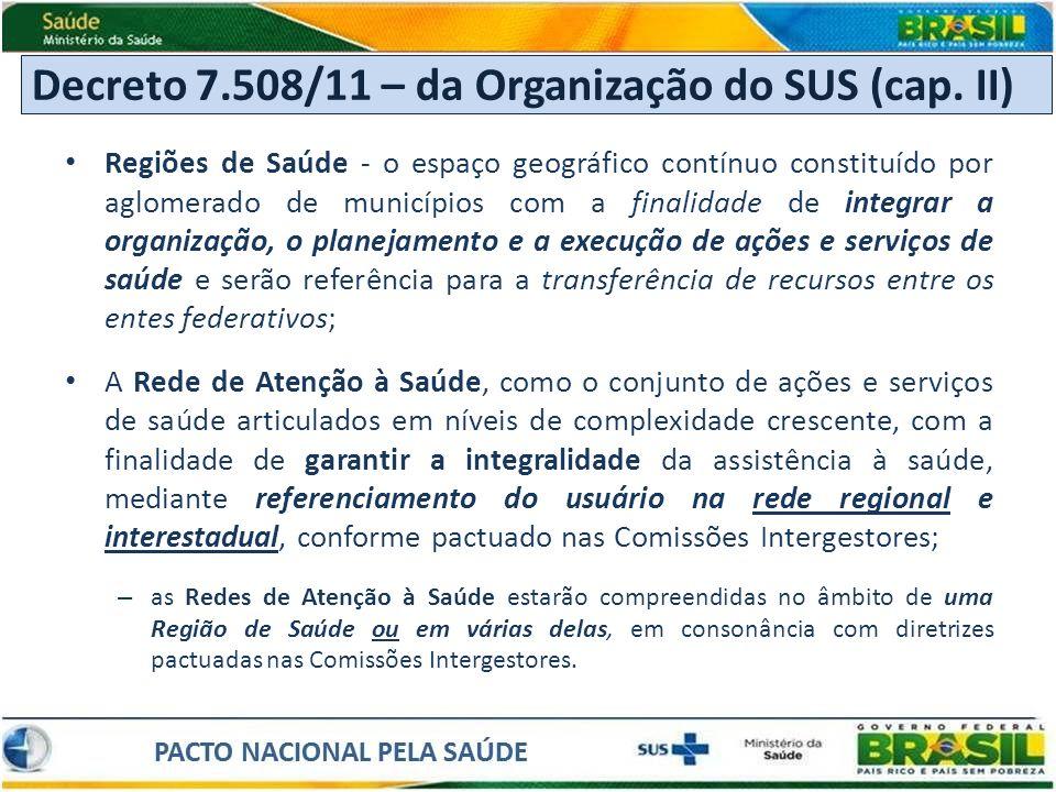 Decreto 7.508/11 – da Organização do SUS (cap. II)