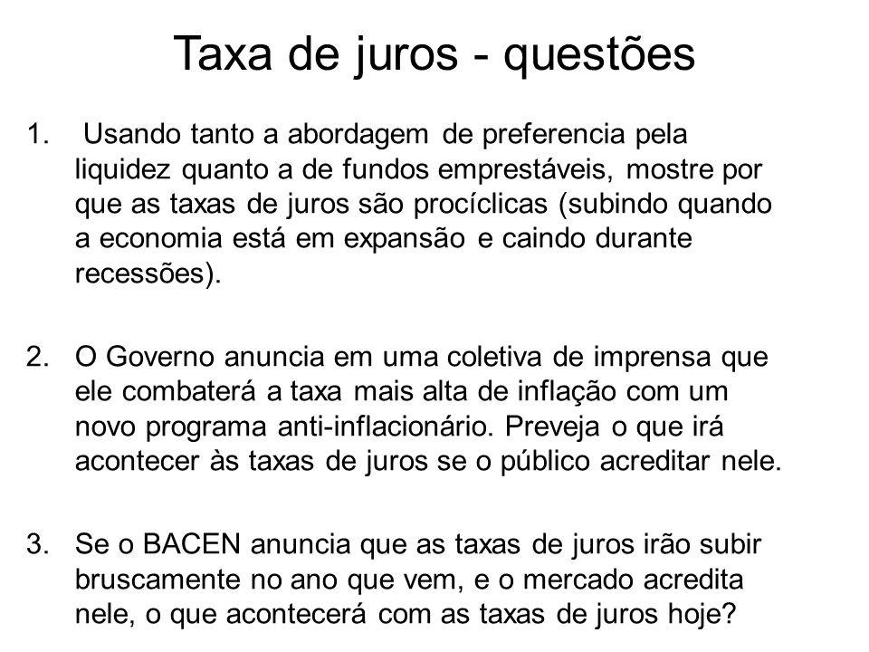 Taxa de juros - questões