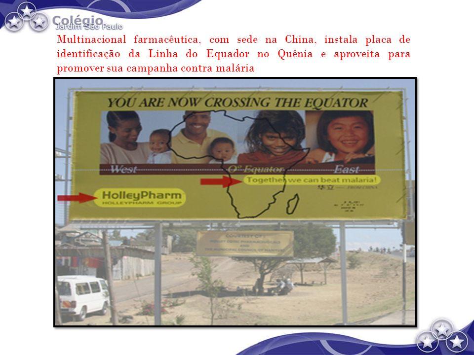 Multinacional farmacêutica, com sede na China, instala placa de identificação da Linha do Equador no Quênia e aproveita para promover sua campanha contra malária