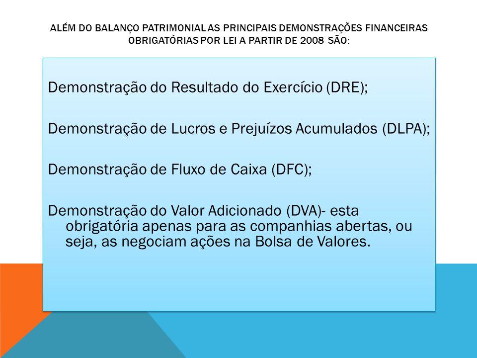 Além do Balanço Patrimonial as principais demonstrações financeiras obrigatórias por lei a partir de 2008 são: