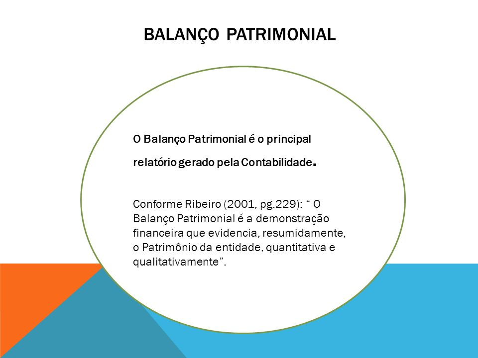 Balanço patrimonial O Balanço Patrimonial é o principal relatório gerado pela Contabilidade.