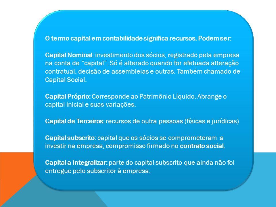 O termo capital em contabilidade significa recursos. Podem ser: