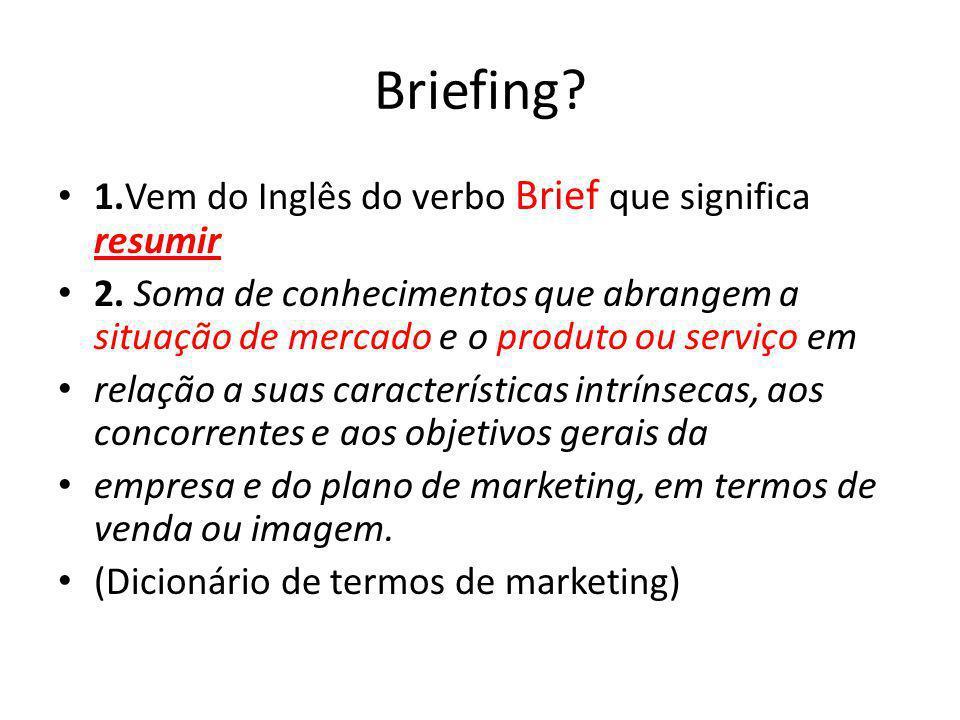 Briefing 1.Vem do Inglês do verbo Brief que significa resumir