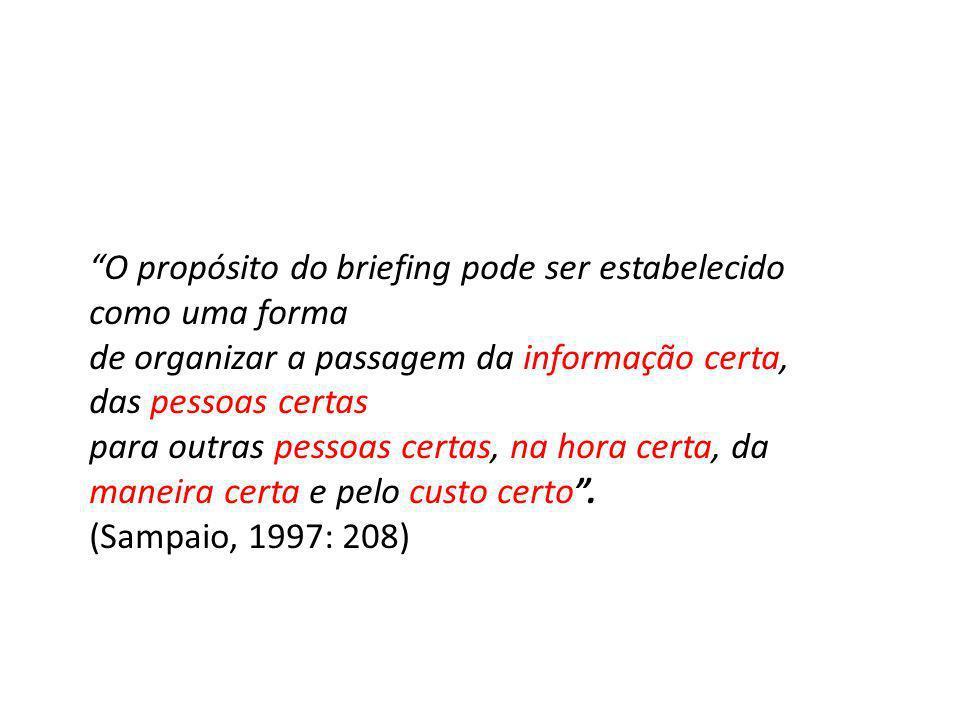 O propósito do briefing pode ser estabelecido como uma forma