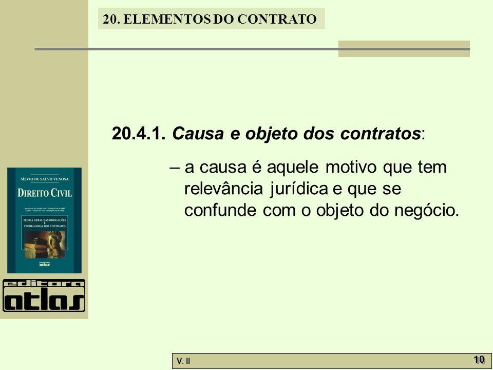 20.4.1. Causa e objeto dos contratos: