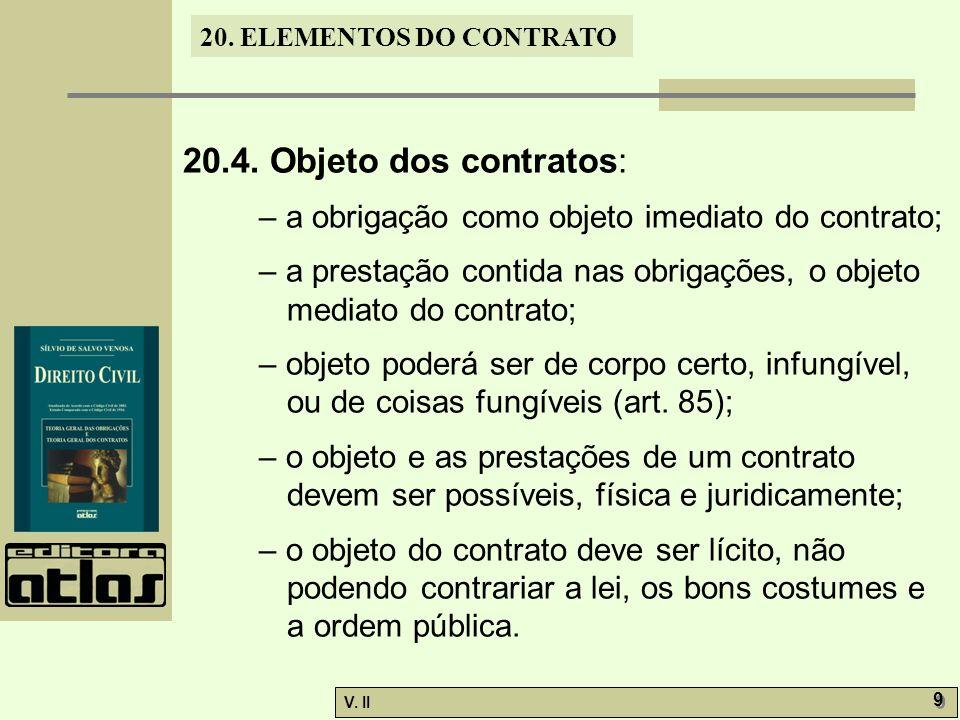 20.4. Objeto dos contratos: – a obrigação como objeto imediato do contrato; – a prestação contida nas obrigações, o objeto mediato do contrato;