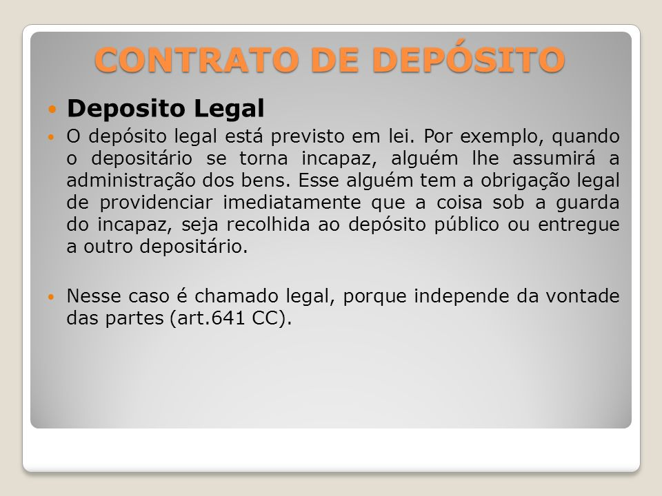 CONTRATO DE DEPÓSITO Deposito Legal