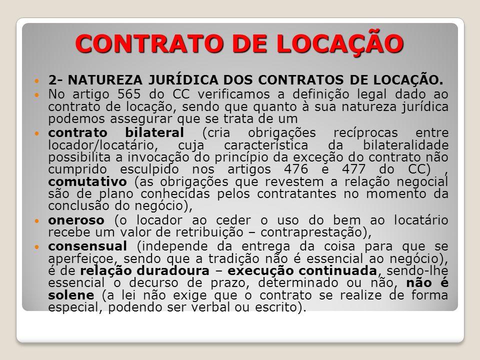 CONTRATO DE LOCAÇÃO 2- NATUREZA JURÍDICA DOS CONTRATOS DE LOCAÇÃO.