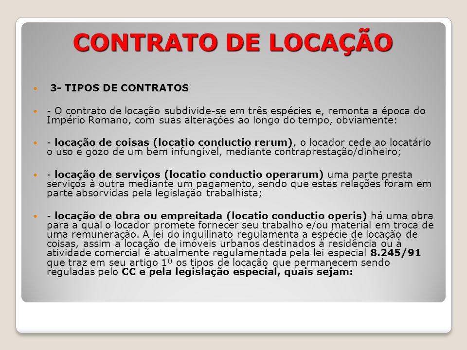 CONTRATO DE LOCAÇÃO 3- TIPOS DE CONTRATOS