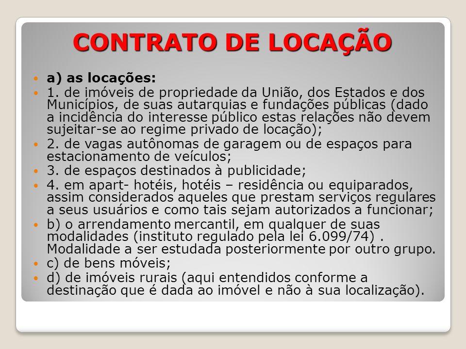 CONTRATO DE LOCAÇÃO a) as locações:
