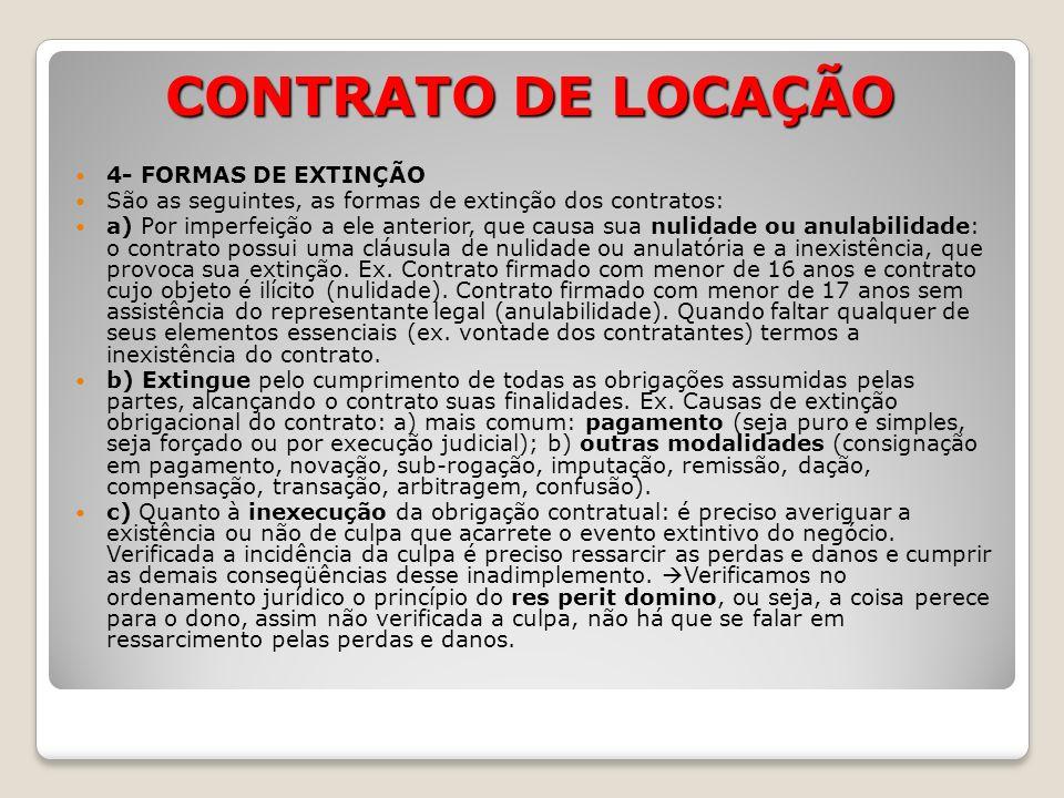 CONTRATO DE LOCAÇÃO 4- FORMAS DE EXTINÇÃO