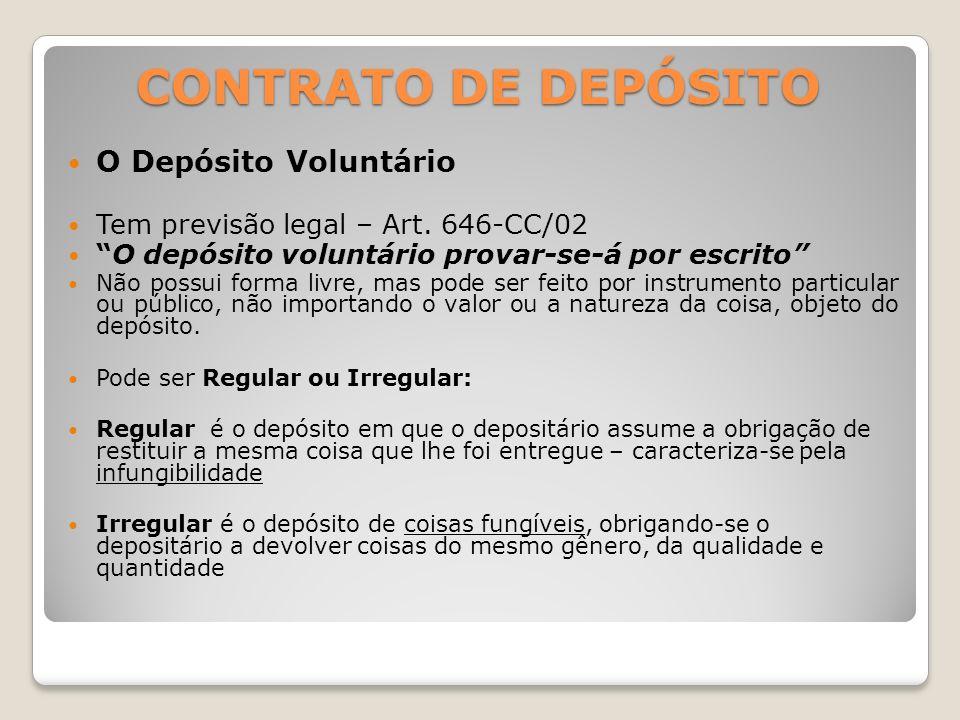 CONTRATO DE DEPÓSITO O Depósito Voluntário
