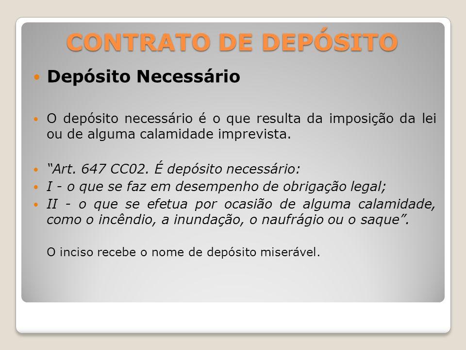 CONTRATO DE DEPÓSITO Depósito Necessário