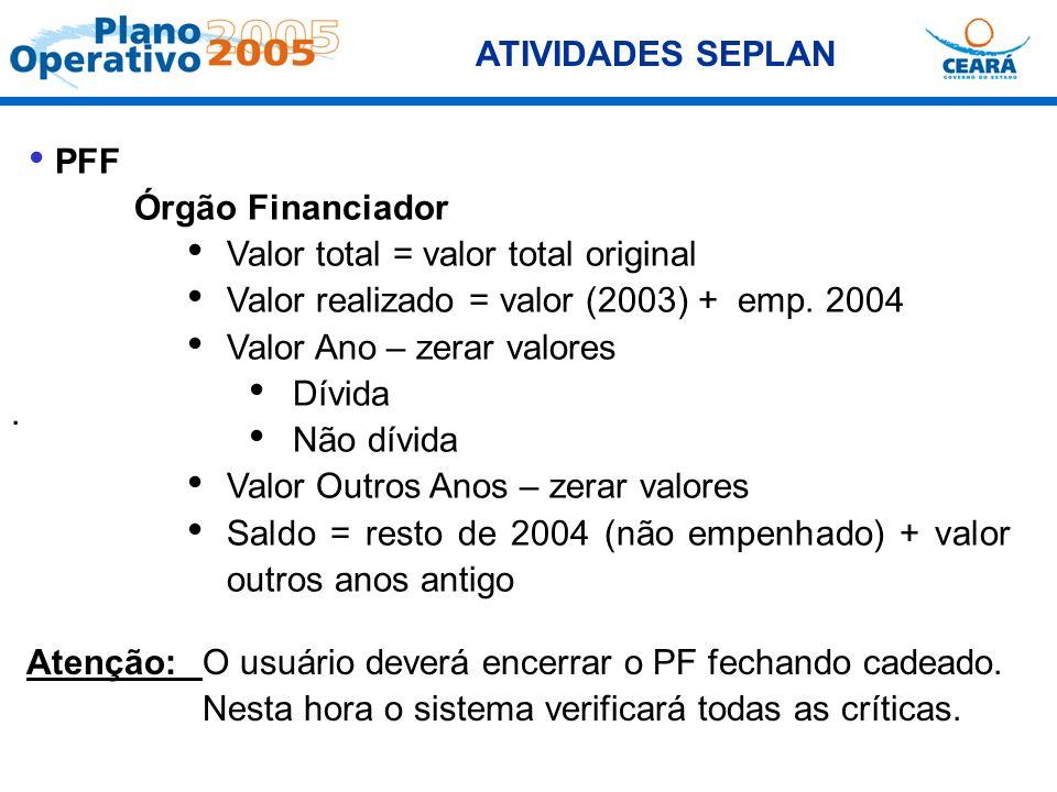 ATIVIDADES SEPLAN PFF. Órgão Financiador. Valor total = valor total original. Valor realizado = valor (2003) + emp. 2004.