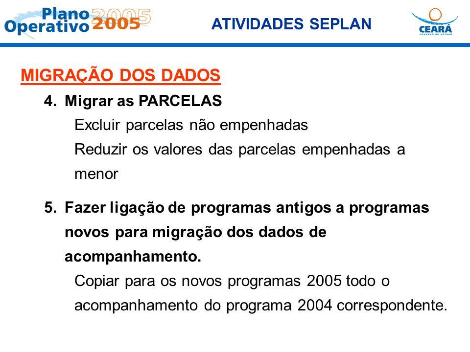 MIGRAÇÃO DOS DADOS ATIVIDADES SEPLAN 4. Migrar as PARCELAS