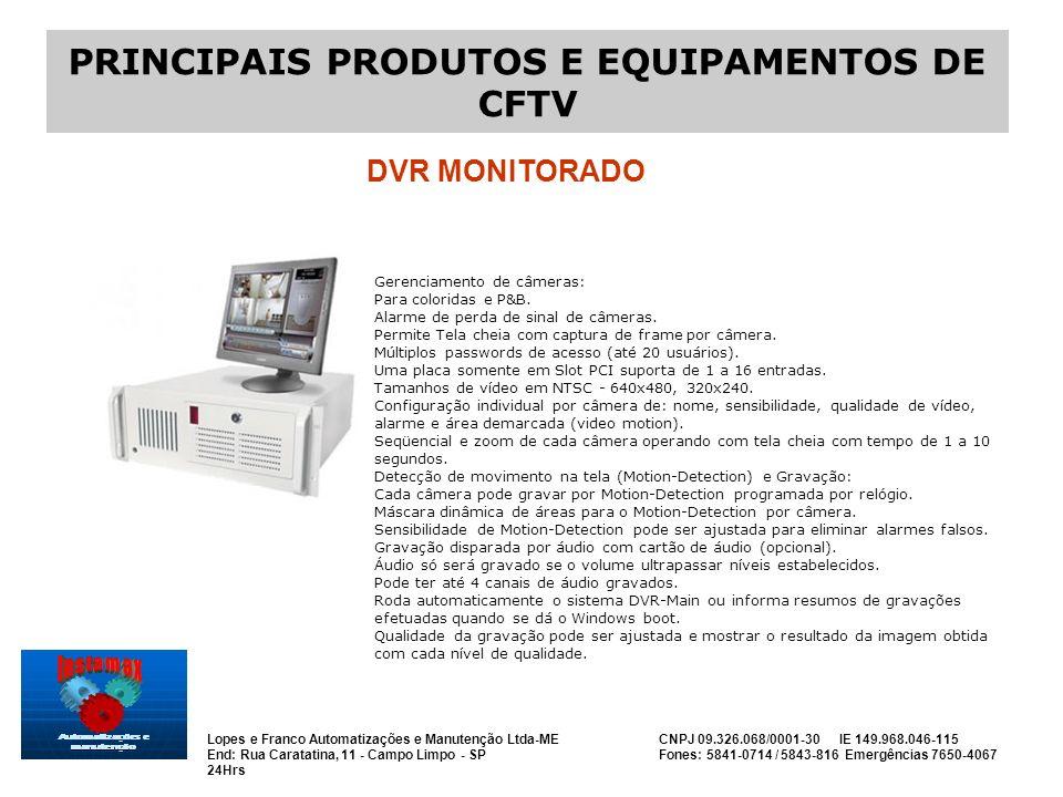 PRINCIPAIS PRODUTOS E EQUIPAMENTOS DE CFTV