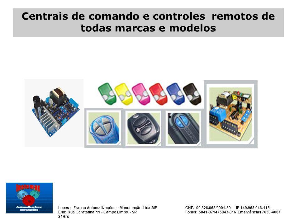 Centrais de comando e controles remotos de todas marcas e modelos
