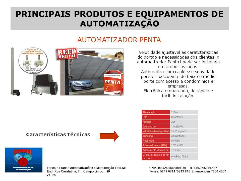 PRINCIPAIS PRODUTOS E EQUIPAMENTOS DE AUTOMATIZAÇÃO