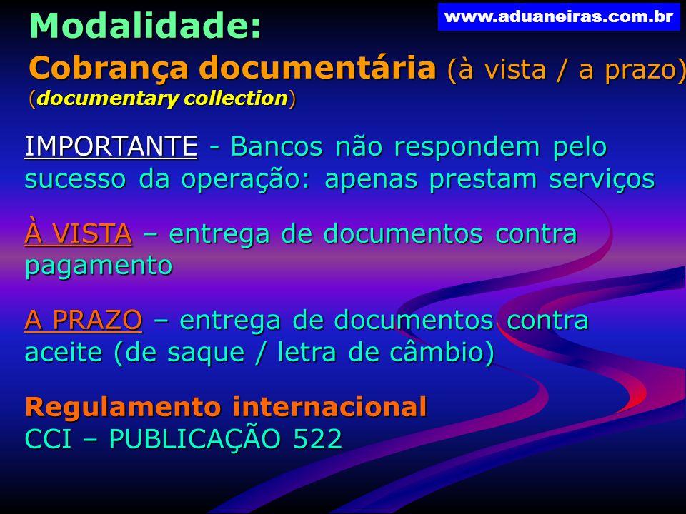 Modalidade: Cobrança documentária (à vista / a prazo)