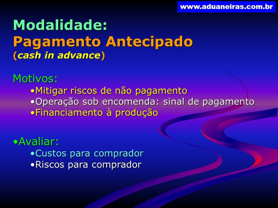 Modalidade: Pagamento Antecipado Motivos: Avaliar: (cash in advance)
