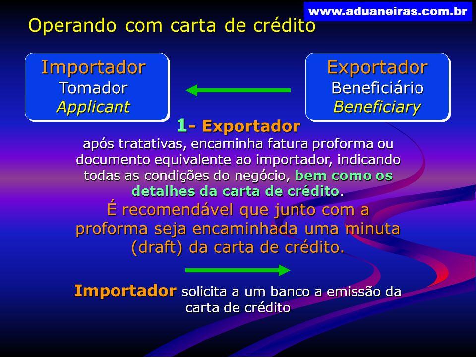 Importador solicita a um banco a emissão da carta de crédito